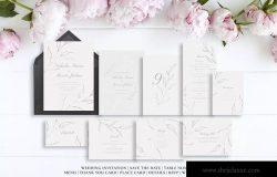 优雅手绘花卉图案婚礼主题设计素材包 Elegant Floral Wedding Suite