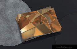 创意黄金立体几何图形高清背景图素材