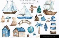 水彩手绘航海婚礼地图设计素材