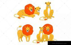 可爱狮子卡通动物扁平设计风格矢量插画 Cute lion and lioness – flat design characters