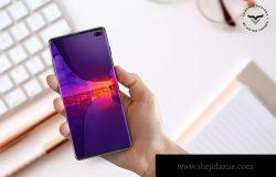 全屏幕无框手机屏幕演示样机模板 Mobile With Hand PSD Mockups