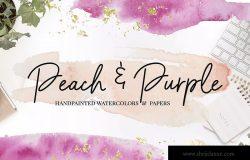 桃紫色水彩背景纹理设计素材 Peach & Purple Watercolor Textures