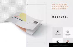 美国信纸尺寸横版杂志印刷效果图样机 US Letter Landscape Brochure – Magazine Mockup set