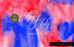 水彩背景纹理设计素材墙纸图案 Watercolor Texture 4th of July