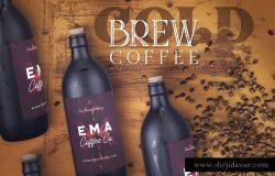 高品质的时尚高端冷酿咖啡包装设计VI样机展示模型mockups