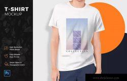 男士休闲T恤印花设计图案预览样机模板