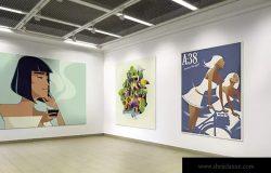 展厅画廊广告海报样机V.1 Gallery Poster Mockup