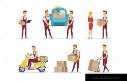 送货和搬家服务卡通人物矢量设计素材 Delivery and moving service – cartoon characters