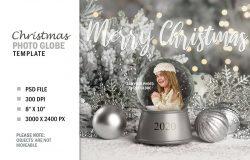 圣诞节冬季银色水晶球数码照片样机模板