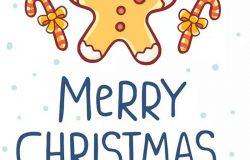 圣诞节&新年庆祝主题简易矢量手绘图形素材 Collection of Christmas cards