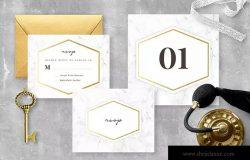 大理石背景婚礼邀请函设计模板 Marble Wedding Invitation Suite