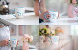 陶瓷马克杯图案/Logo设计效果图样机模板