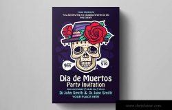 墨西哥亡灵节主题活动海报设计模板v1 Dia De Los Muertos Flyer Template