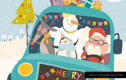 驯鹿、雪人、企鹅&圣诞老人矢量插画