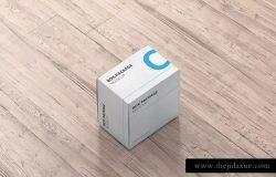 纸质包装盒外观设计样机模板 Package Box Mock-Up – Flat Square