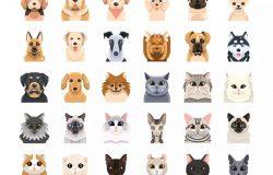 30枚狗&猫扁平设计风格矢量图标 30 Dog and Cat Icons – Flat