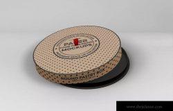 圆纸盒蛋糕盒外观包装设计样机 Paper Round CakeBox Packaging Mockup