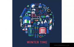 冬季运动主题扁平设计风格圆形矢量插画 Winter Time Card with Circle Print