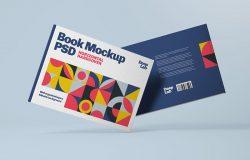 横版图书封面封底设计图样机 Horizontal Book Cover Mockup
