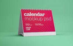 横版活页桌面日历封面设计效果图样机v2 Horizontal Desk Calendar Mockup
