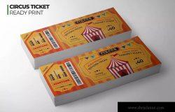 马戏团表演门票设计模板 Circus Ticket