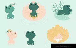 可爱小青蛙手绘矢量图形设计素材 Cute Little Frogs Vector Graphic Set