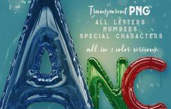铝箔材质气球3D字体英文字母PNG素材