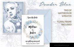 粉蓝色水彩花环剪贴画PNG素材 Powder Blue Watercolor Wreaths