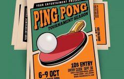 复古风格乒乓球比赛宣传单海报设计模板