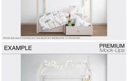 儿童房室内装修家居床单被褥印花布艺图案墙纸贴图样机效果图PSD