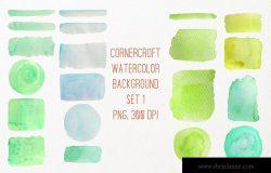 20款绿色水彩背景纹理素材 Watercolor texture background green