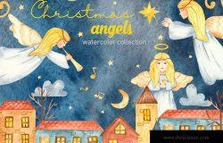 水彩手绘圣诞天使剪贴画&卡片元素