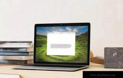 超级本笔记本电脑网页设计展示样机模板 Laptop Mock-up – Interior Set