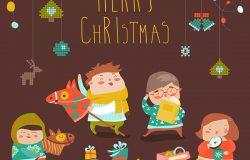 儿童派对圣诞节主题矢量插画素材