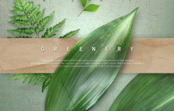 春夏绿色主题海报模板PSD下载