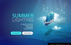梦幻可爱创意度假广告模板PSD下载