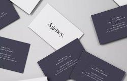 企业名片设计随机摆放俯视图样机模板 Spread of Business Cards Mockup
