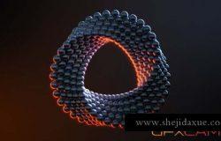 三维小球环形循环动画C4D教程 Cinema 4D Abstract Ring + 工程文件