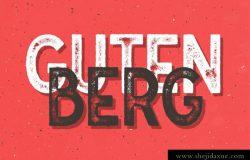 粗糙洗旧无衬线英文字体 Gutenberg Font Family
