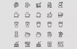25枚咖啡主题矢量图标素材 25 Coffee Theme Icons – Vector