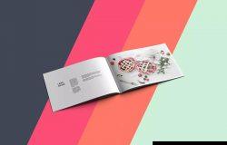 品牌宣传画册内页排版设计PSD样机 Landscape Brochure Mockup PSD