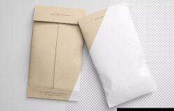 牛皮纸信封设计图样机模板 Twin Envelope Packages Mockup