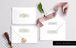 婚礼邀请函和信封样机