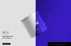 复古茶杯悬浮效果图样机模板 Floating Tea Cup Mockup