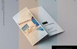 单门折叠宣传册印刷效果图样机 Single Gatefold Brochure Mockup