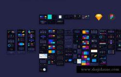 黑色酷炫的产品业务数据网站UI kits模版下载 [Sketch]