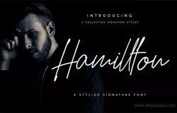 优雅设计风格英文钢笔签名字体 Hamillton Signature Script Typeface