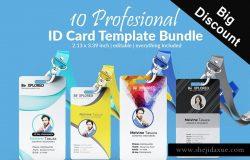 10款时尚极简的工作证卡片设计模板 ID Card Bundle Template 10 cards [psd]