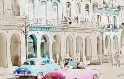 城市建筑水彩混合艺术Photoshop动作下载