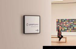 室内方形标志设计效果图样机-PSD Interior Square Sign Mockup – PSD
